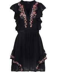 Love Sam Monika Embellished Cotton-gauze Mini Dress - Black