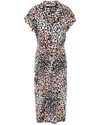 Veronica Beard Amani Midikleid Aus Crêpe De Chine Aus Einer Seidenmischung Mit Leopardenprint Und Knotendetail Größe 6 - Purple