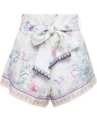Camilla Belted Crystal-embellished Floral-print Linen-gauze Shorts - White