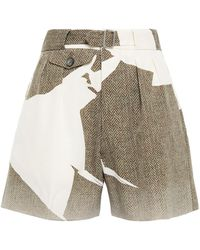 Maison Margiela Belted Herringbone Wool-twill Shorts Sage Green