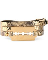 McQ - Gold-tone Metallic Cracked-leather Bracelet - Lyst