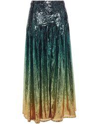 Mary Katrantzou Dégradé Sequined Tulle Maxi Skirt Dark Green