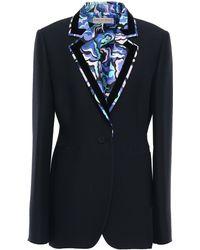 Emilio Pucci Printed Twill-trimmed Wool And Silk-blend Blazer Black