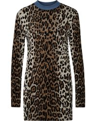 Stella McCartney - Leopard-jacquard Long-sleeved Jumper - Lyst