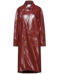 Tibi Faux Textured-leather Trench Coat - Brown