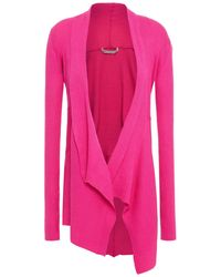 Cotton by Autumn Cashmere Draped Ribbed Cotton Cardigan Bright Pink