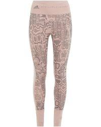 adidas By Stella McCartney Stretch-leggings mit schlangenprint und mesh-einsatz - Pink