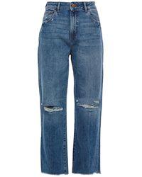 DL1961 Distressed High-rise Straight-leg Jeans Light Denim - Blue