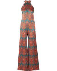 Seren London Olive Printed Silk-satin Halterneck Jumpsuit - Green