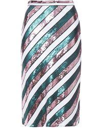 Diane von Furstenberg Sequined Striped Silk-chiffon Skirt Emerald - Green