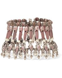 Etro Silver-plated, Rhodonite And Mother-of-pearl Bracelet - Pink