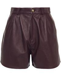 Etro Leather Shorts - Purple