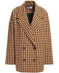 Gestuz Double-breasted Checked Tweed Blazer Light Brown - Multicolour