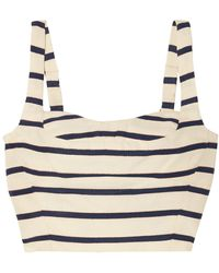 Veronica Beard Gina Metallic Striped Cotton-canvas Bustier Top Ecru - Blue