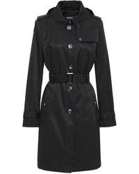 DKNY Belted Cotton-blend Gabardine Hooded Trench Coat Black
