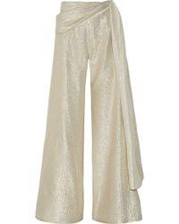 Oscar de la Renta - Silk-blend Lamé Wide-leg Trousers - Lyst