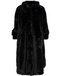 MM6 by Maison Martin Margiela Oversized Faux Fur Coat - Black