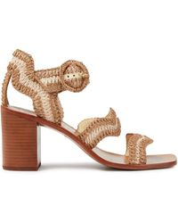Zimmermann Two-tone Raffia Sandals Light Brown - Natural