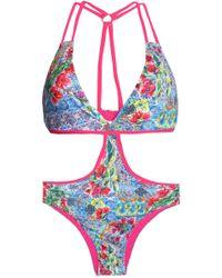 Matthew Williamson - Cutout Printed Swimsuit - Lyst