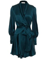 Zimmermann Ruffled Washed-silk Mini Wrap Dress - Blue
