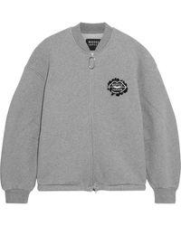 Markus Lupfer Jade Sequin-embellished Embroidered Cotton-fleece Bomber Jacket - Grey