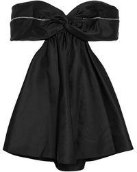 Area Off-the-shoulder Crystal-embellished Cutout Duchesse-satin Mini Dress - Black