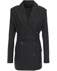 Ann Demeulemeester Double-breasted Belted Woven Blazer Black