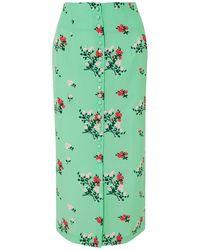 BERNADETTE Floral-print Crepe De Chine Midi Skirt Mint - Green