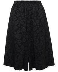 MM6 by Maison Martin Margiela Leopard-print Jacquard Shorts - Black