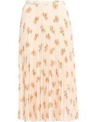 Joie Pleated Floral-print Crepe De Chine Midi Skirt Pastel Orange