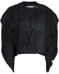 Rick Owens - Draped Silk-organza And Leather Jacket - Lyst