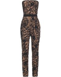 Moschino Strapless Embroidered Tulle Jumpsuit - Black