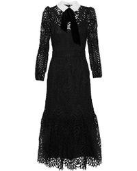 Temperley London - New Moon Velvet-trimmed Corded Lace Midi Dress - Lyst
