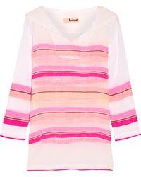 lemlem - Saali Striped Cotton-blend Gauze Hooded Top - Pink