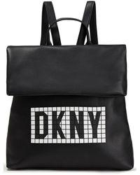DKNY Tilly Logo-embellished Faux Textured-leather Backpack Black