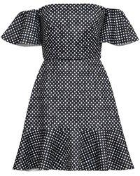 Saloni Amelia schulterfreies minikleid aus neopren mit polka-dots - Schwarz