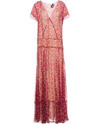 Just Cavalli Floral-print Silk-crepon Maxi Dress Red