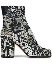 Maison Margiela Tabi Split-toe Printed Leather Ankle Boots - Black