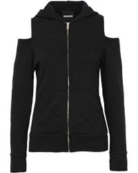 Monrow - Cold-shoulder Cutout French Terry Hooded Sweatshirt - Lyst