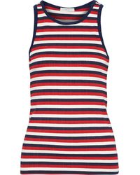 Joie Ruzha B Striped Ribbed Jersey Tank Red