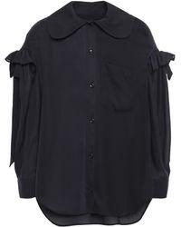 Simone Rocha Bow-detailed Ruffle-trimmed Crepe Shirt Black