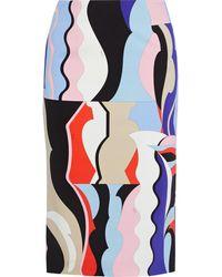 Emilio Pucci Printed Stretch-cady Pencil Skirt - Multicolor