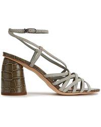 Sam Edelman - Daffodil Croc-effect Leather Sandals Sage Green - Lyst