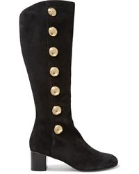 Chloé Chloé Orlando Button-embellished Suede Knee Boots Black