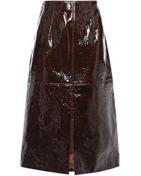 Sally Lapointe Textured Patent-leather Midi Skirt Chocolate - Brown