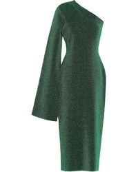 Solace London Reuben One-shoulder Metallic Stretch-knit Midi Dress Emerald - Green