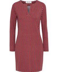 Diane von Furstenberg Reina Printed Stretch-jersey Mini Dress Red