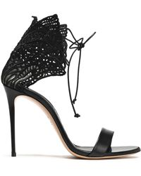 Casadei - Embroidered Mesh And Leather Sandals - Lyst