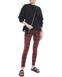 R13 Kate halbhohe skinny jeans mit karomuster - Rot