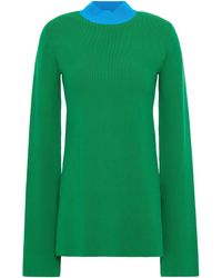 Solace London Two-tone Stretch-knit Top - Green